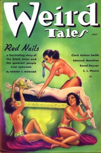 Original Weird Tales cover for Red Nails