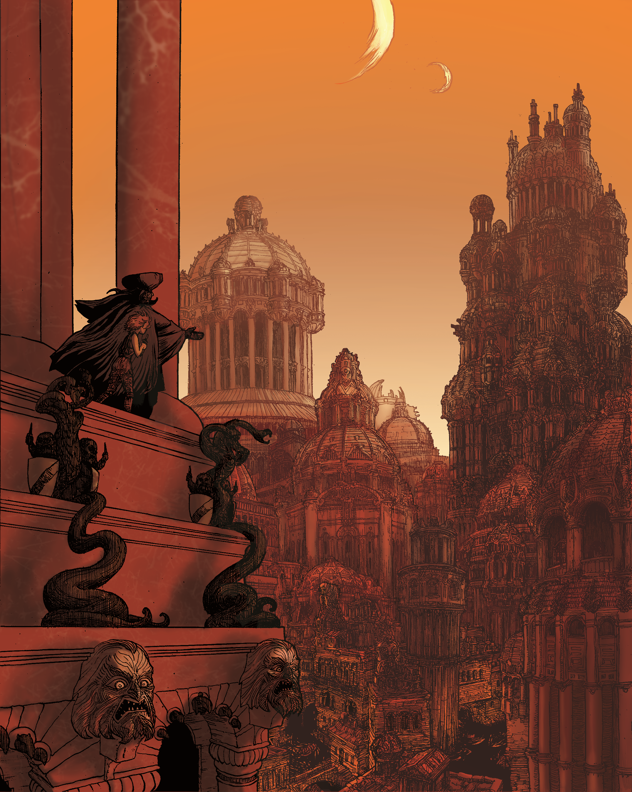 Illustration of the city of Vance, by Chris Huth